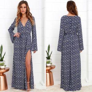 Lulu's Mandala Daydream Blue Print Maxi Dress